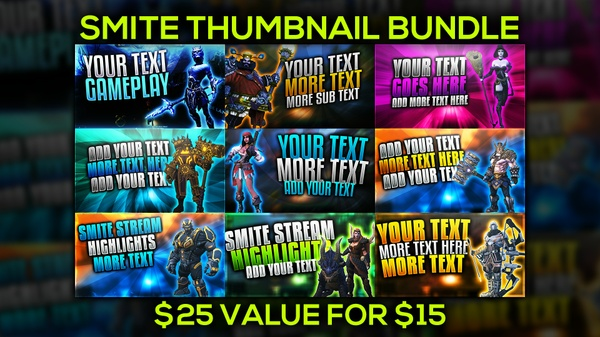 Smite YouTube Thumbnail Template Bundle Pack