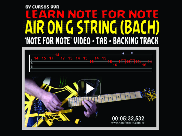 AIR ON G STRING ROCK SOLO WITH VIDEO NOTE FOR NOTE - TAB - BACKING TRACK