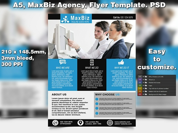 MaxBIz Business Flyer Template (A5 PSD)