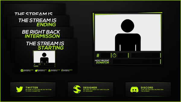 Green and Grey Twitch Stream Rebrand and Overlay Photoshop Template Pack