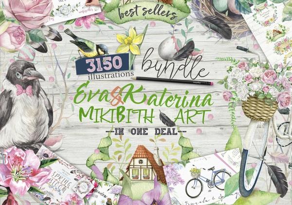 BIG BUNDLE 3150 in 1 by Mikibith Art &Eva Katerina