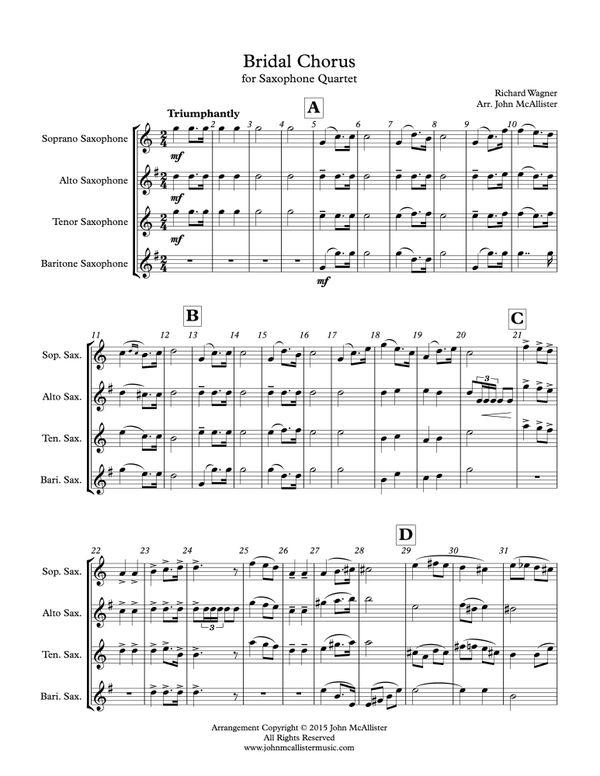 Bridal Chorus for Saxophone Quartet