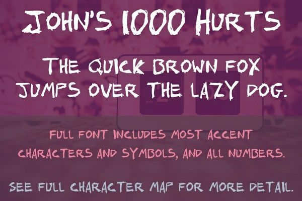 John's 1000 Hurts Font - General Commercial License
