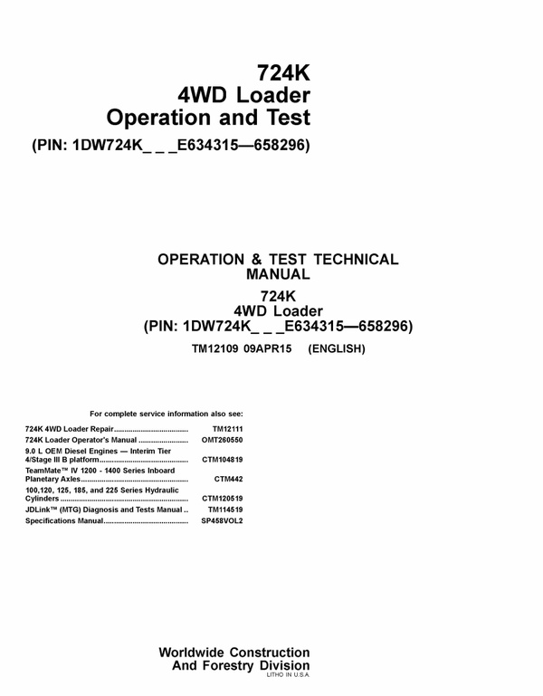 PDFJOHN DEERE 724K WHEEL LOADER OPERATION AND TEST TECHNICAL MANUAL TM12109