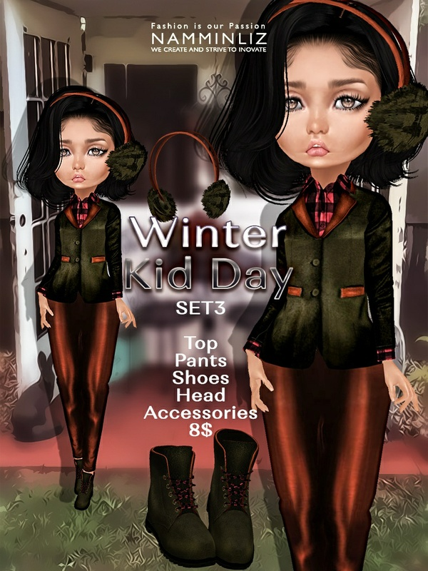 Winter Kid Day  Set3 ( Pants + Shoes ) JPG textures NAMMINLIZ file sale
