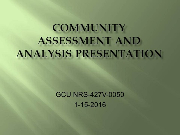 NRS 427V Week 4 CLC - Community Assessment and Analysis Presentation [30 Slides]