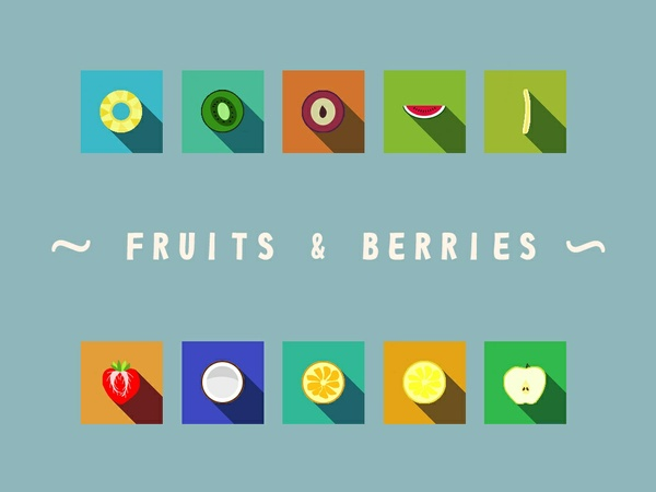 Fruits&berries icon set