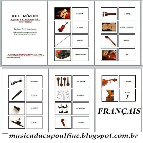 JEU DE LA MEMOIRE - VIOLON - Les parties et accessoires du violon. (FRANÇAIS) PDF