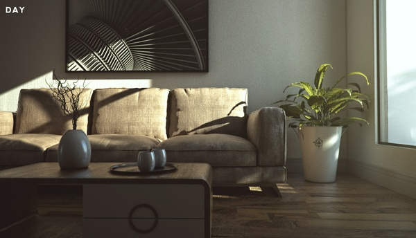 Photorealistic Sofa scene (VRAY)