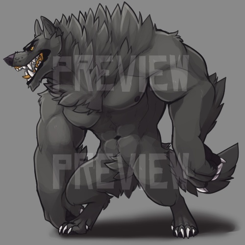 Shaded Werewolf Lineart