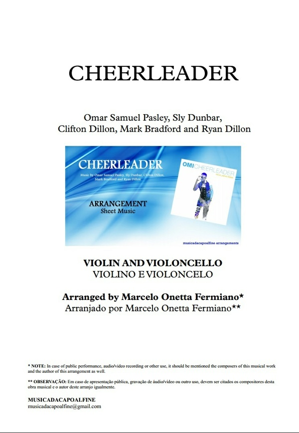 CHEERLEADER - OMI - VIOLIN AND VIOLONCELLO - Sheet Music - Score and parts.pdf