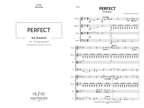 Perfect - Ed Sheeran - Arranged for String Quartet