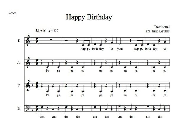 Happy Birthday SATB polka version