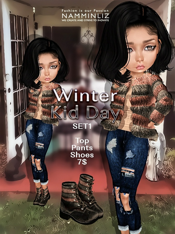 Winter Kid Day  Set1 ( Pants + Shoes ) JPG textures NAMMINLIZ file sale