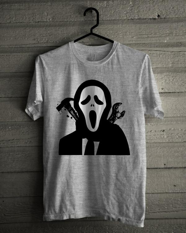 T-shirt Design 'Halloween White Mask Murderer'