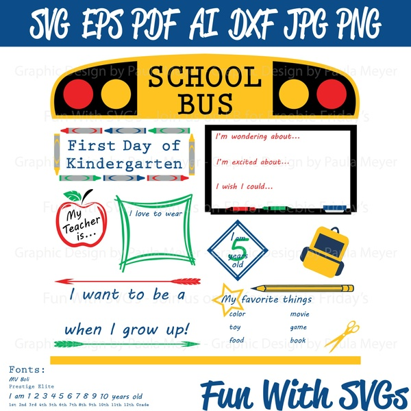 First Day of School Sign2 - SVG Cut File, High Resolution Printable Graphics and Editable Vector Art