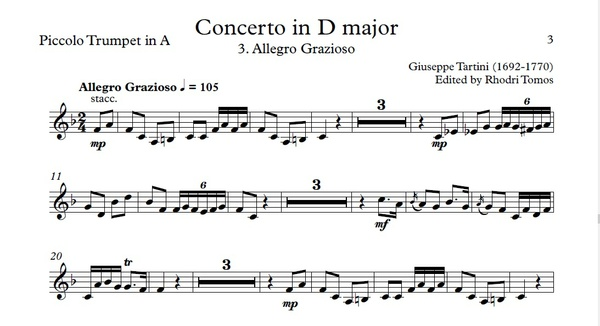 Tartini Trumpet Concerto in D major. Organ accompaniment mp3 & trumpet sheet music pdf