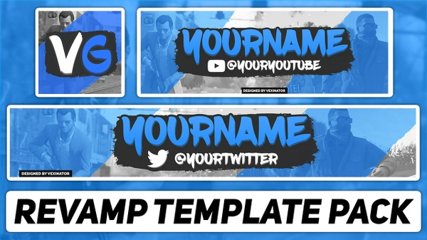 Gaming Revamp Pack | Photoshop Template (YouTube Banner, Twitter Header & Avatar)