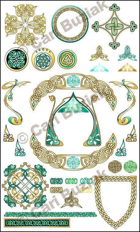 """Aon Wedding Stationery - """"Crests and Emblems"""" set, Aqua and Gold 300dpi"""