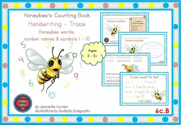 HANDWRITING CARDS: HONEYBEE WORDS & PICTURES & NUMBERS 1 - 10 - 6cB