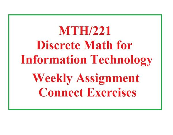 MTH 221 Week 1 Assignment - Week 1 Connect Exercises
