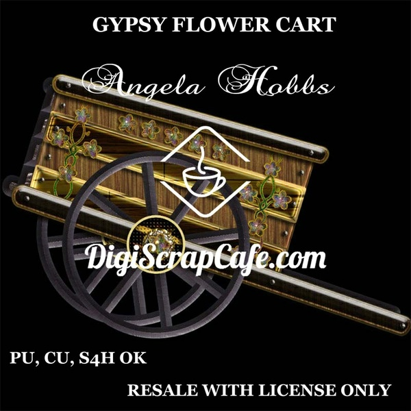 Gypsy Flower Wagon Cart PNG Transparent Commercial Use Clip Art
