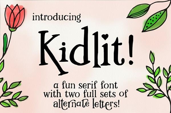 Kidlit: a fun serif font set!