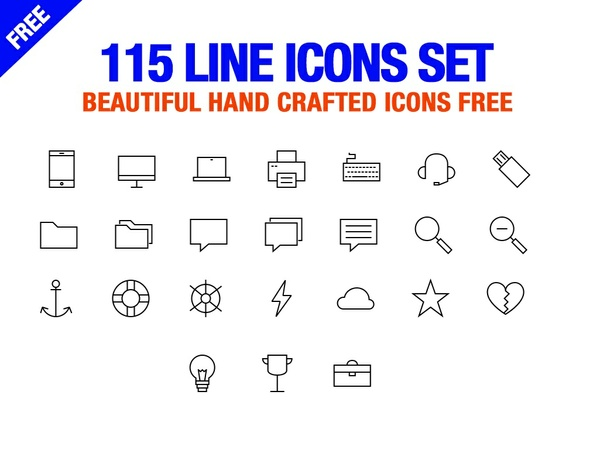 Free Line Icon Set - 115 Free Line Icons