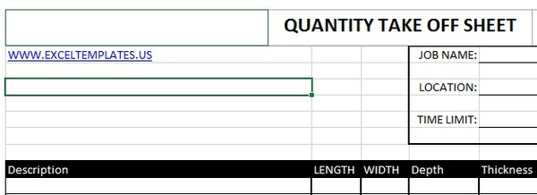 Excel templates for Take off sheet template
