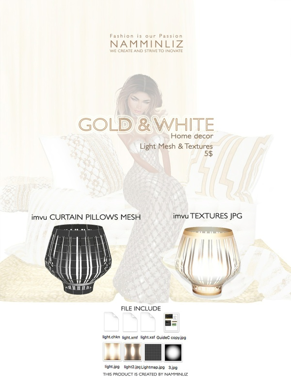 Gold & White imvu Light mesh & texture JPG, XSF, XMF, CHKN files