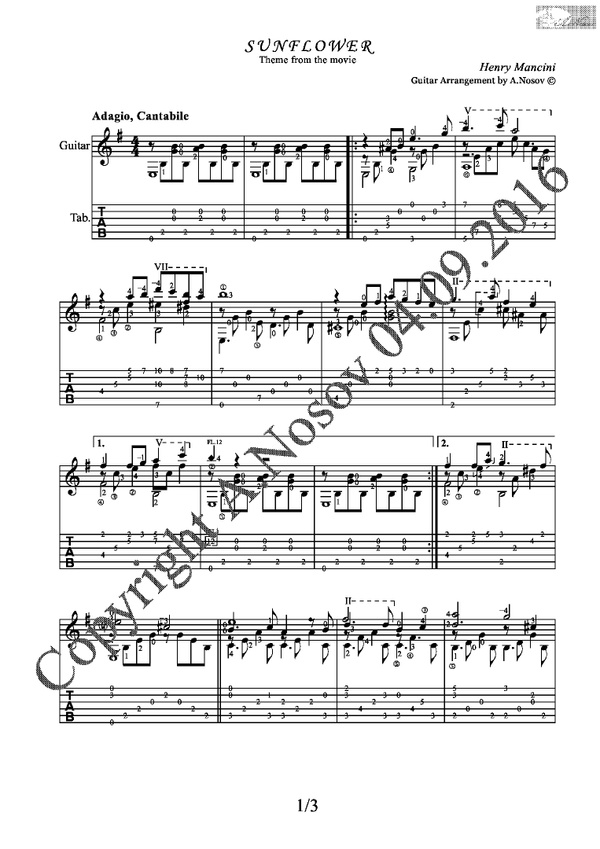 Sunflower (H.Mancini) Sheet music for guitar