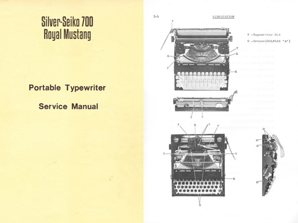 Silver-Reed 700, Royal Mercury, Mustang Portable Typewriter Service Repair Adjustment Manual