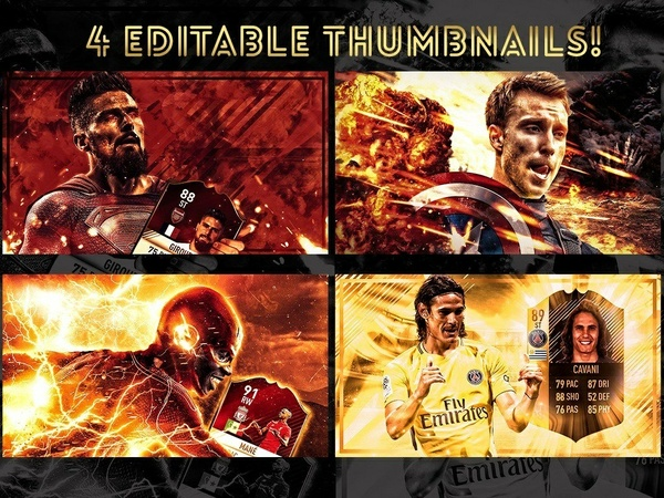 4 FULLY EDITABLE THUMBNAILS! FIFA 18 / FIFA 17 THUMBNAILS !