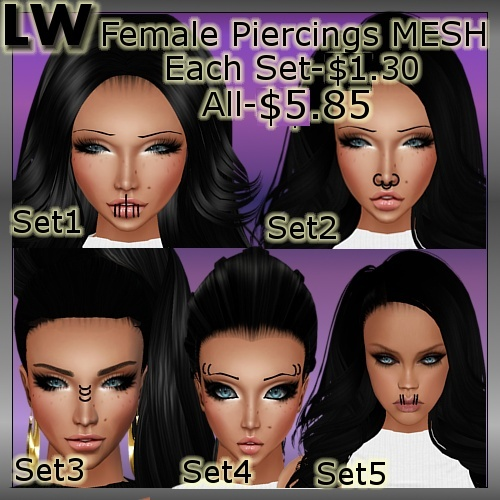 Female Piercings Set MESH (5 Meshes)
