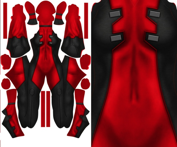 FEMALE DEADPOOL (with texture) pattern file