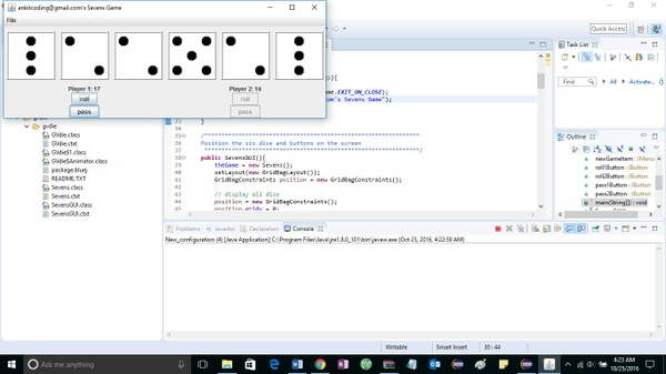 Project 3  Sevens: A Dice Game solution