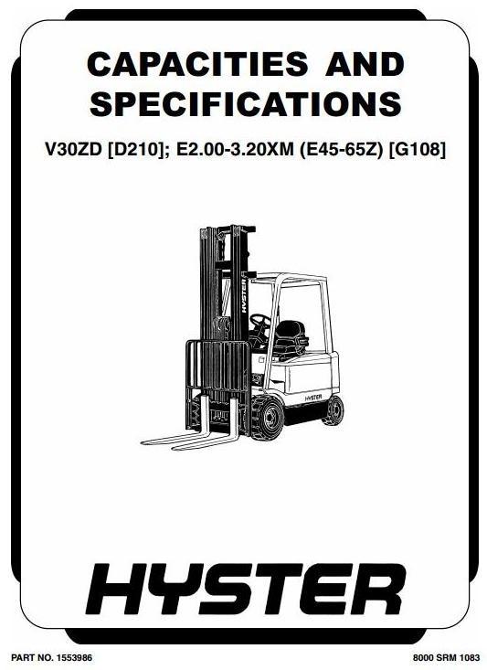 Hyster Truck E2.00XM,E2.50XM,E3.00XM,E3.20XM,E45Z,E50Z,E55Z,E60Z,E65Z,V30ZD Workshop Manual