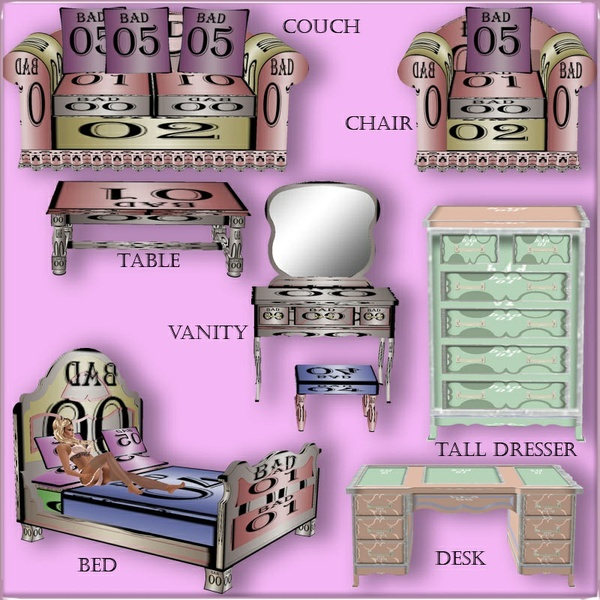 7 VICTORIAN FURNITURE MESHES