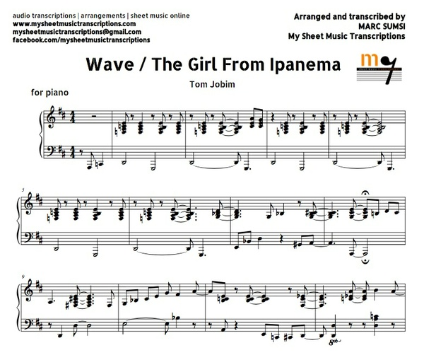 Wave / The Girl From Ipanema (Tom Jobim) Sheet music (.pdf)