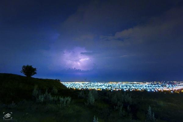 Lightning and City Night Landscape