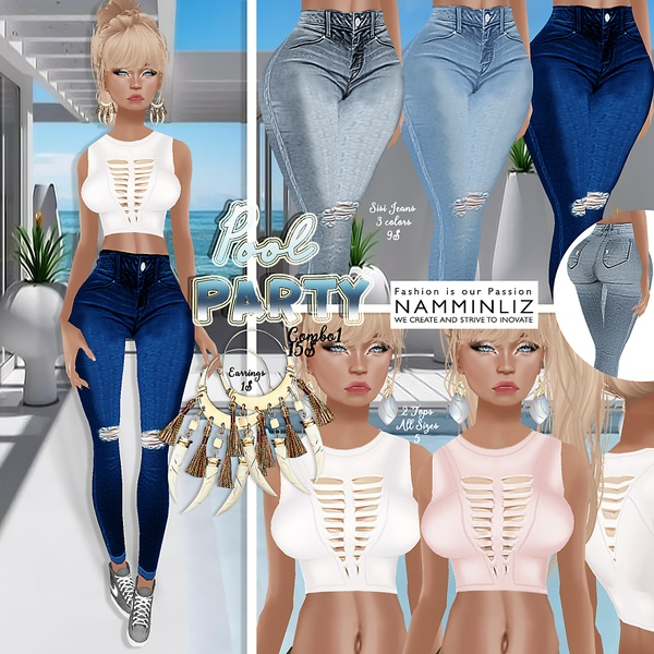 PoolParty combo - 3 Jeans only (Sisi3D & Bibirasta)