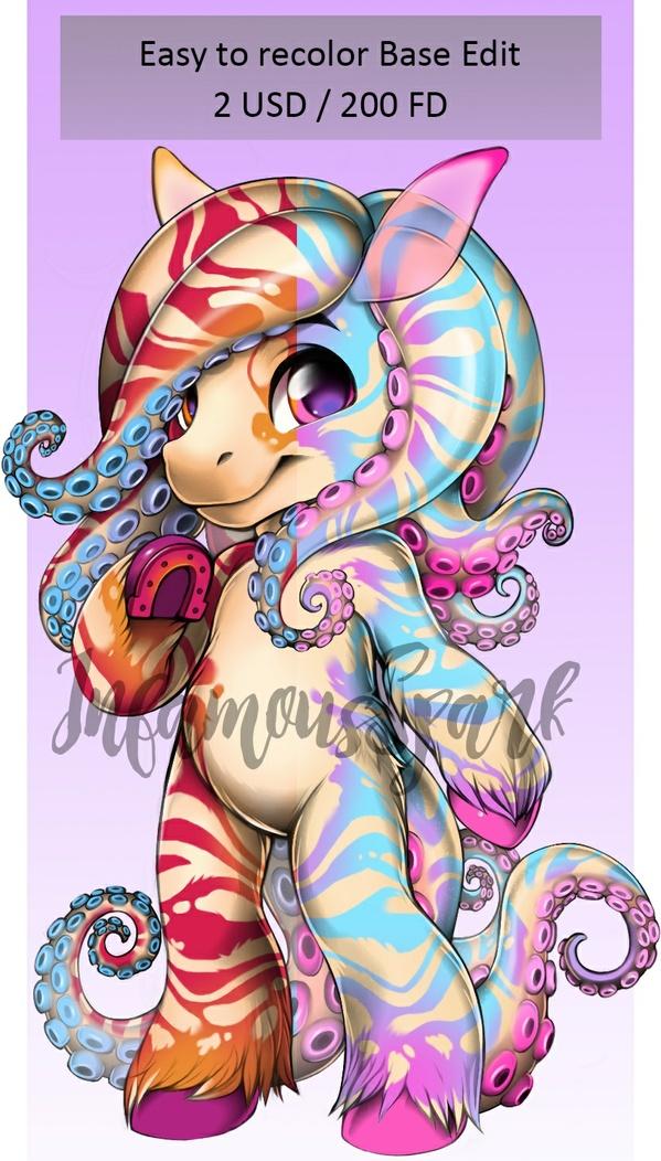 Octopus Horse - Easy to recolor Furvilla Base