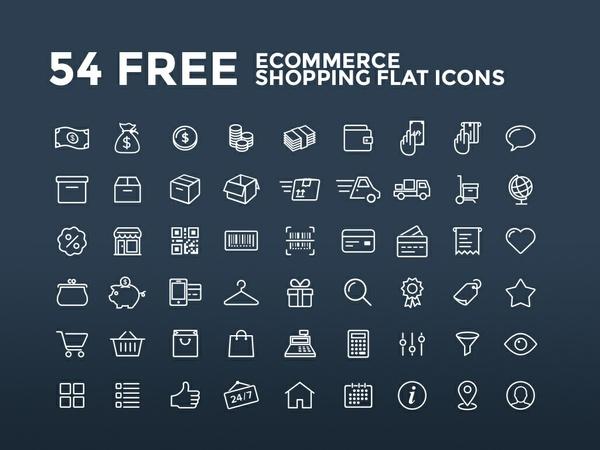 54 Free Ecommerce Shopping Flat Icons