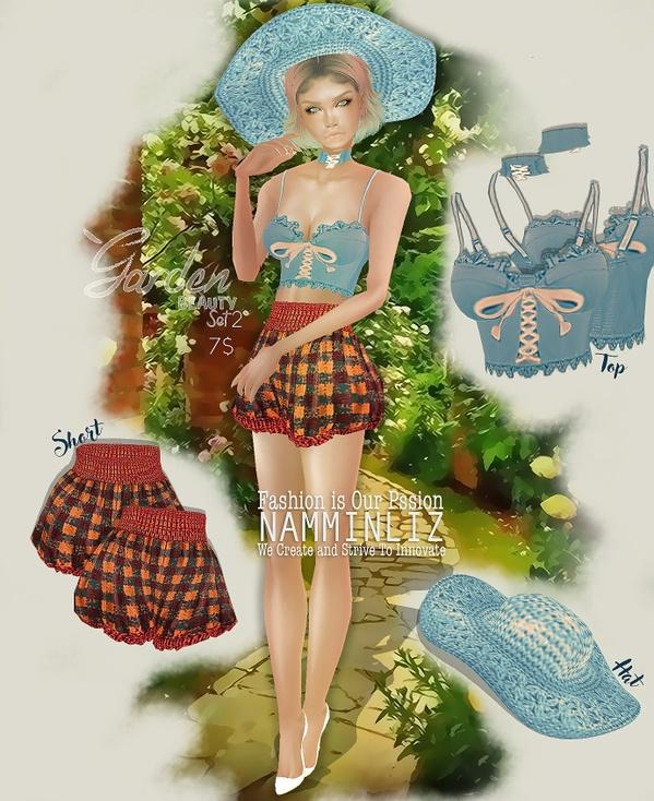 Garden Beauty Set 2 imvu PNG textures Top + Short + Hat