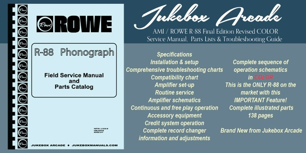 AMI / Rowe R-88 Service Manual, Parts Lists & Troubleshooting Guide