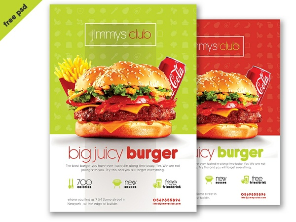 Free Burger Flyer Template PSD Template - Download Free Flyer