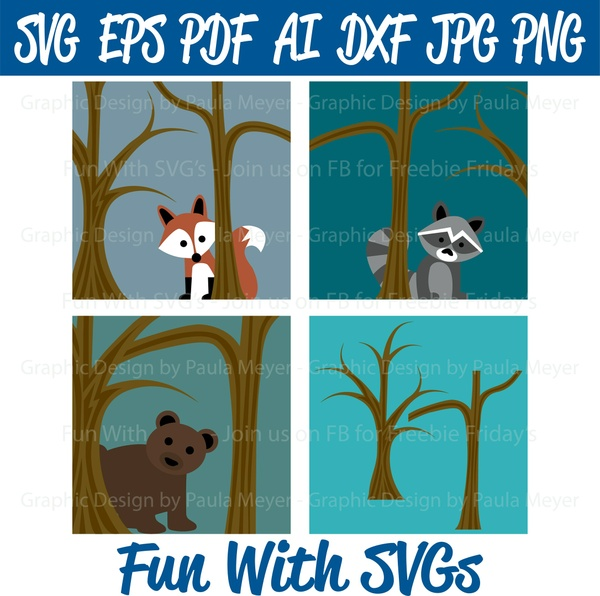 Forrest Animals, Fox, Bear, Raccoon, SVG High Resolution Printable Graphics and Editable Vector Art