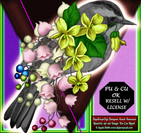 Bird Cluster Flower Vines Designer Resource Commercial Use Template PNG PSD Transparent Clip Art