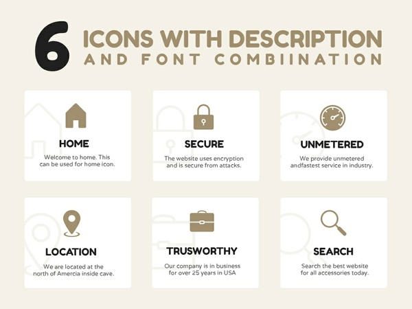 Free Icons with Description and Font Combo