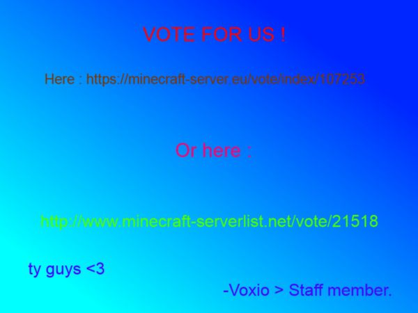 YOU CAN NOW VOTE FOR US NOW!